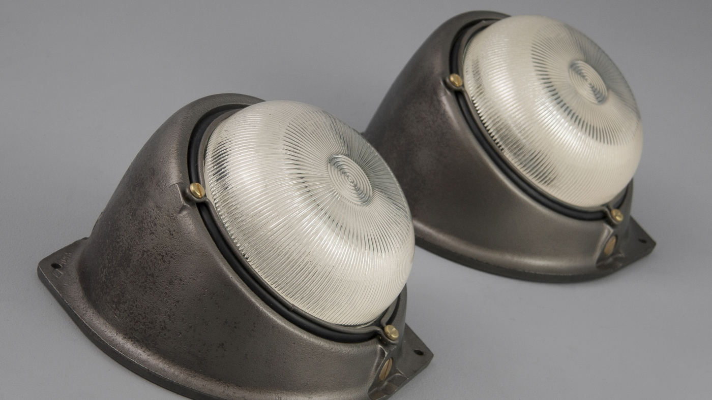 British enamel pendants and vintage industrial wall lights