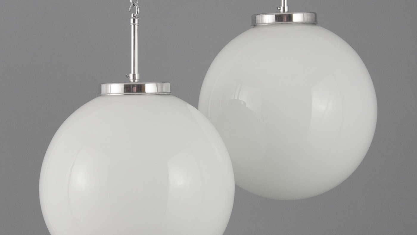 Industrial street lights and opaline glass globes