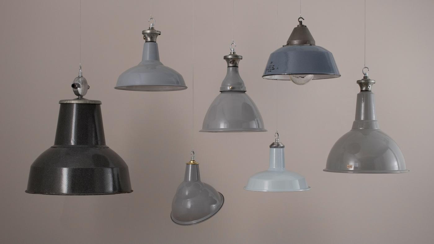 vintage lighting pendants. Grey Enamel Shades Vintage Lighting Pendants