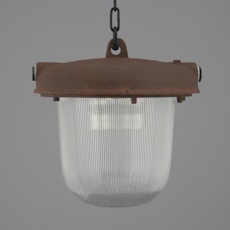 Vintage industrial pendant lighting uk skinflint industrial pendant lighting with oxide steel enclosure and prismatic glass shade aloadofball Choice Image
