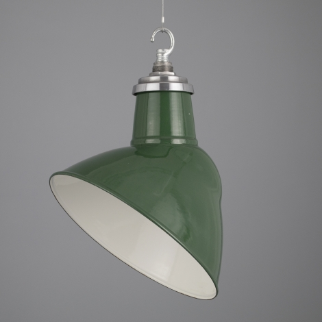 Green enamel vintage pendant lights by thorlux