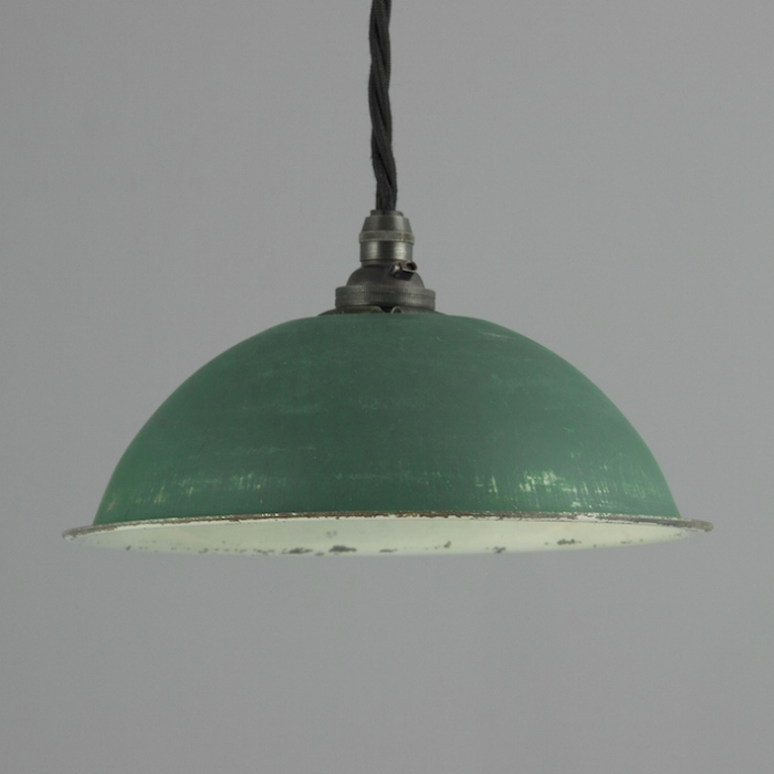 Vintage green enamel pedant shade salvaged u s paratropper lights