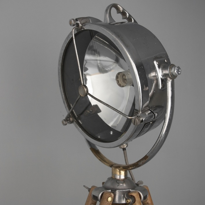 polished aluminium vintage British searchlight with tripod bracket & Fire engine search light | Skinflint