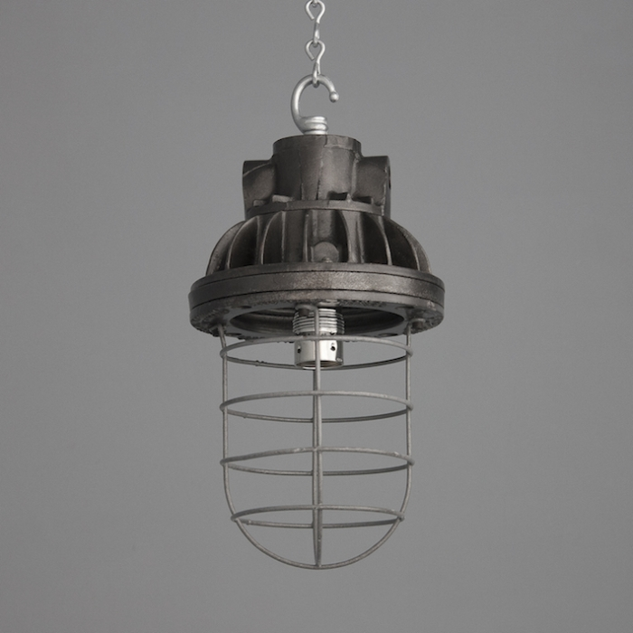 Salvaged British Factory Light With Cage