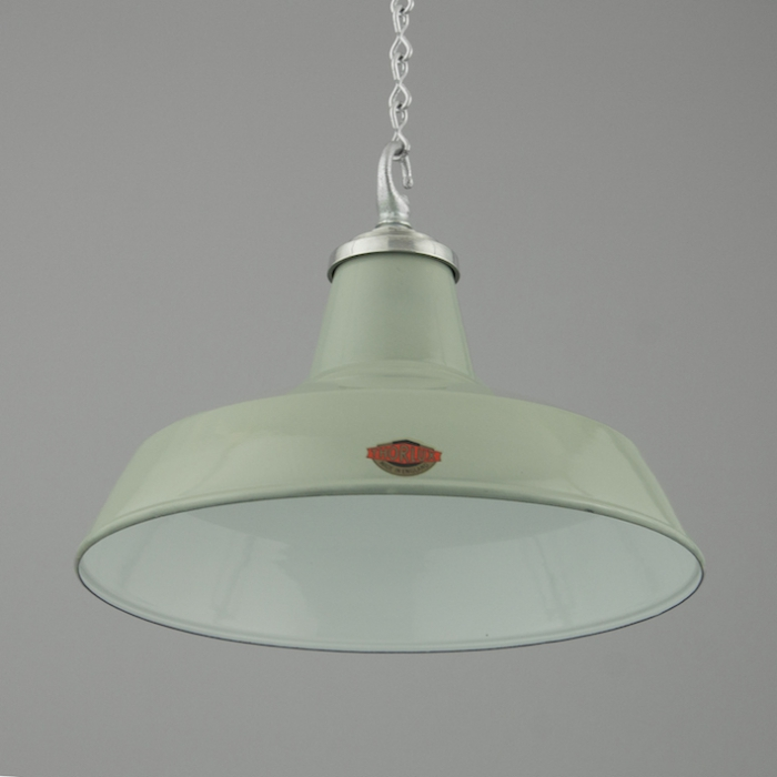 Vintage pendant lighting by thorlux skinflint green grey enamel industrial pendant light aloadofball Image collections