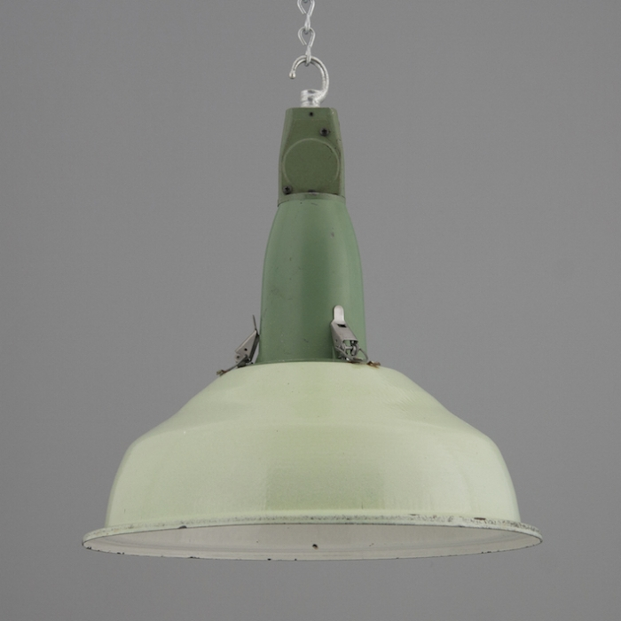 Pastel green soviet industrial pendant shades with painted gallery