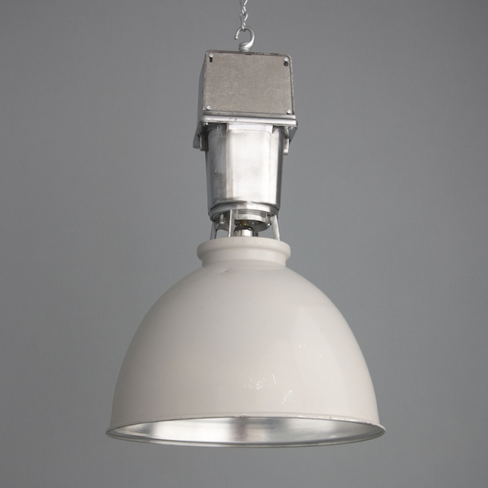 Hanging grey industrial pendant light by thorlux
